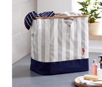 Laundry Bag With Carrying Strap, Light Gray/Navy