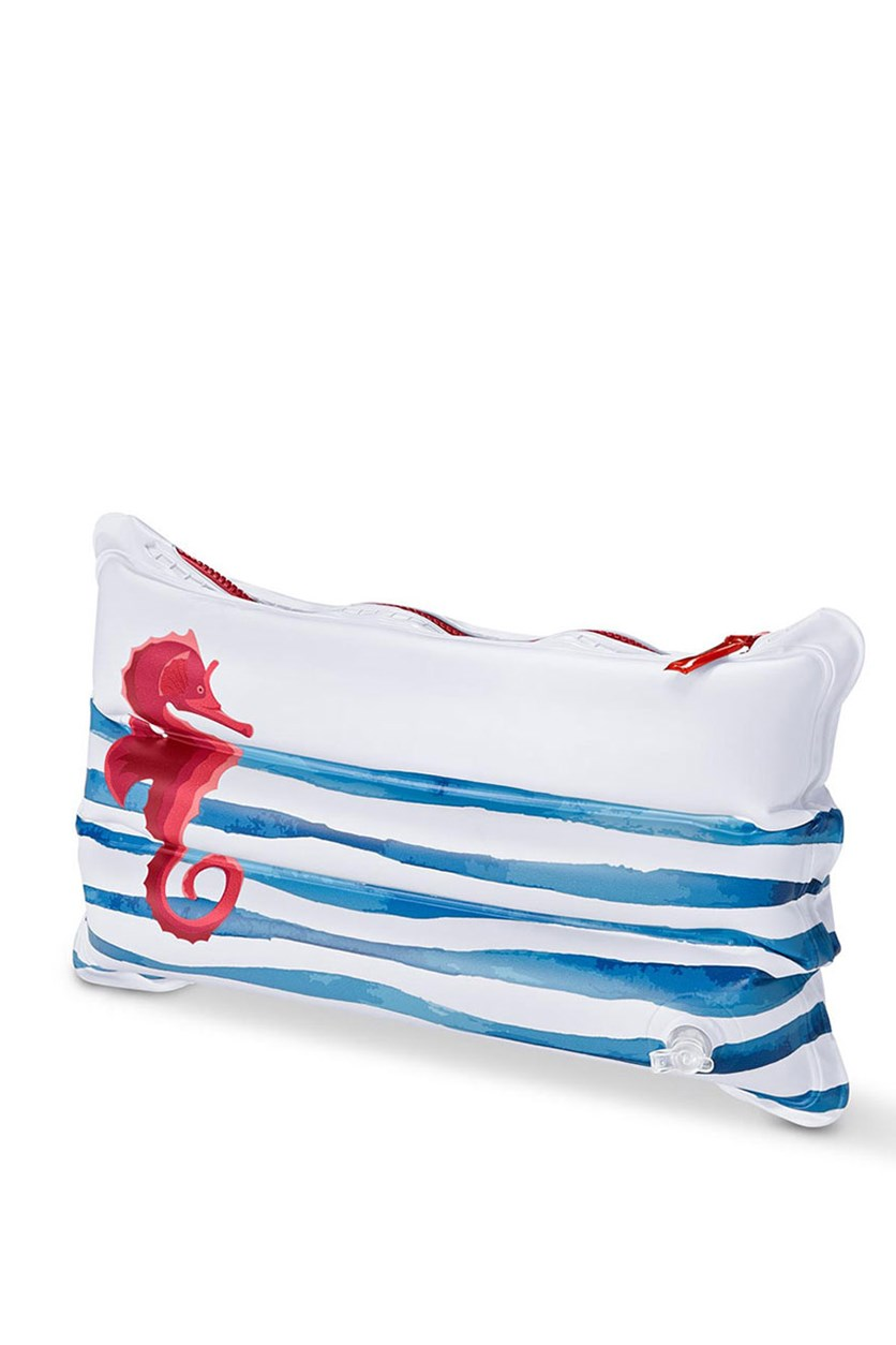 Inflatable Cushion with Bag, White/Blue/Red