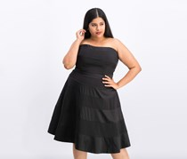 Women Plus Size Satin-Stripe Dress, Black