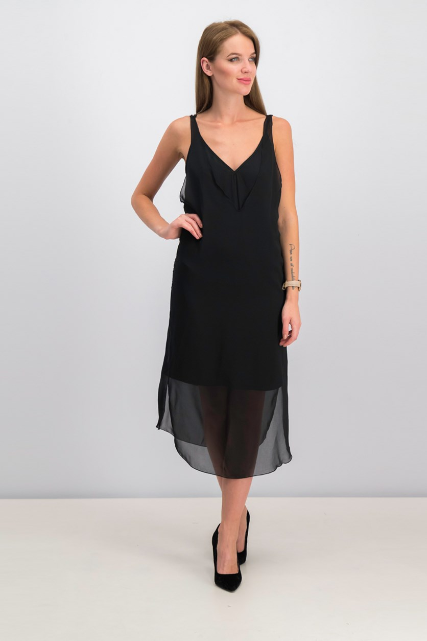 Women's V-Neck Sleeveless Dress, Black