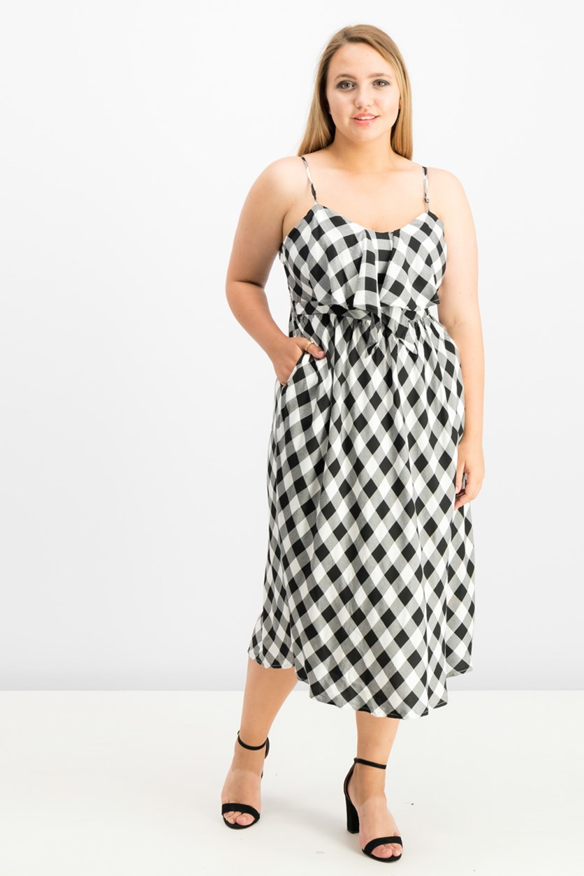 Printed Cutout Midi Dress, Black/White