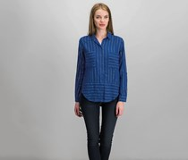 Cloth & Stone Women Striped Blouse, Navy Combo