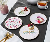 4 Dessert Plates With Shiny Gold Decoration