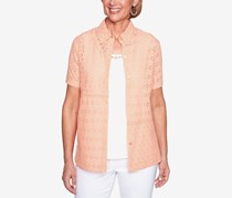 Alfred Dunner Los Cabos Layered-Look Necklace Top, Peach