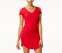 Planet Gold Juniors Cold-Shoulder Bodycon Dress, Red