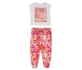 Amy Coe Girl's Palm Springs Tee & Harem Pants Set, Pink/White