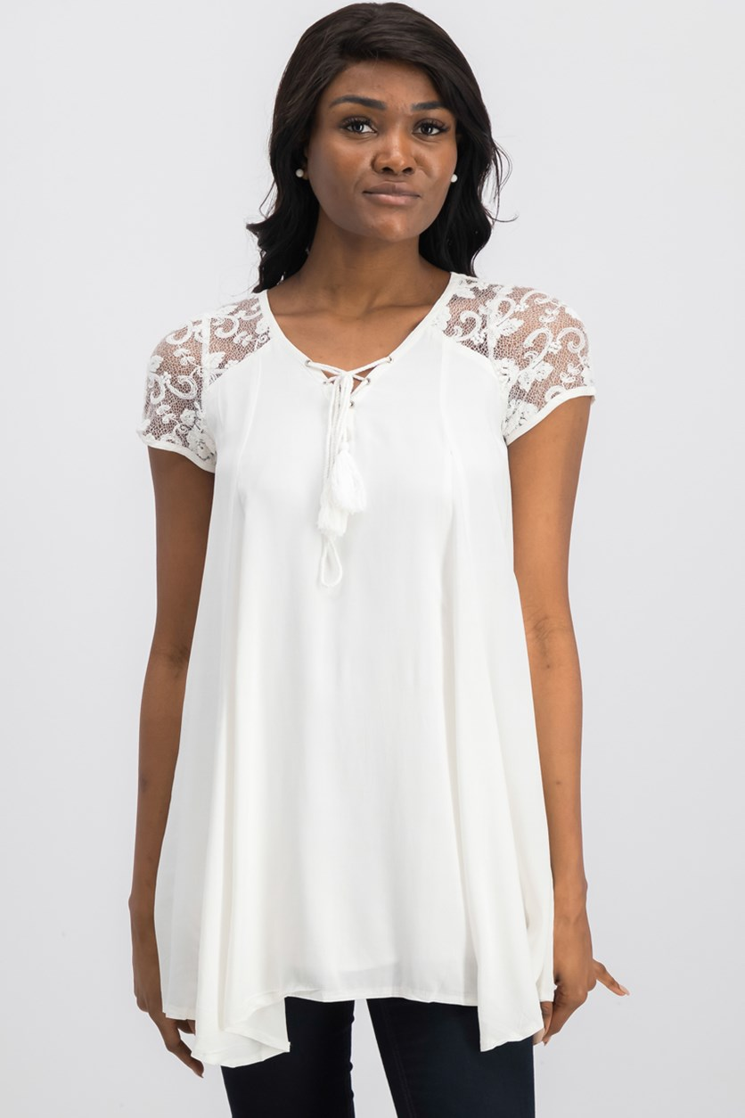 Women's Short Sleeve Tunic, Ivory