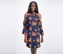 Alison Andrews Ladies Crepe Woven Floral Cold Shoulder Lace Up Keyhole Front Dress, Navy Floral Combo