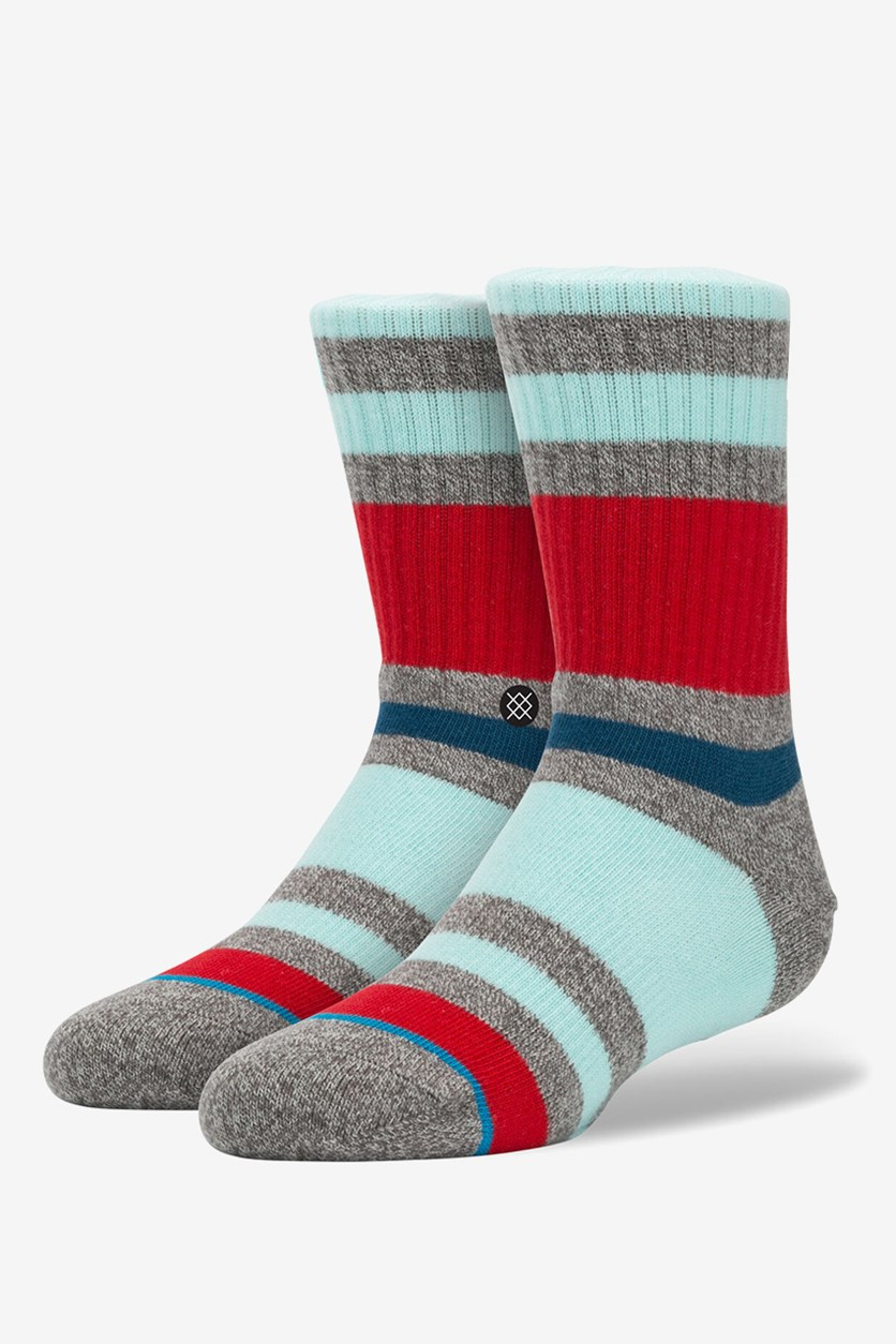 Boys Glade Socks, Grey/Red/Turquoise
