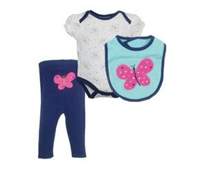 Bon Bebe Girl's Turn-Me-Round Pants 3-Piece Outfit Set, White/Navy