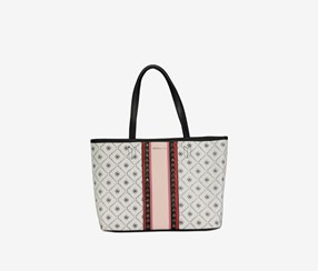 Women Rina Tote Bags, White/Black/Red Combo