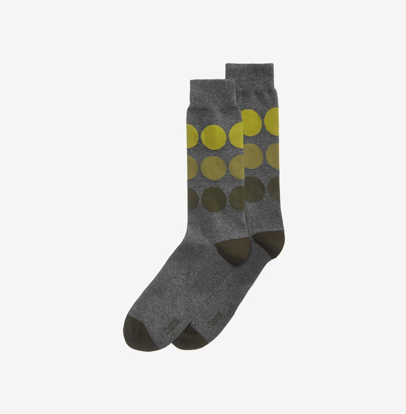 Men's Large Dot Socks, Green/Grey