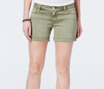 Women Juniors Cuffed Denim Shorts, Deep Lichen