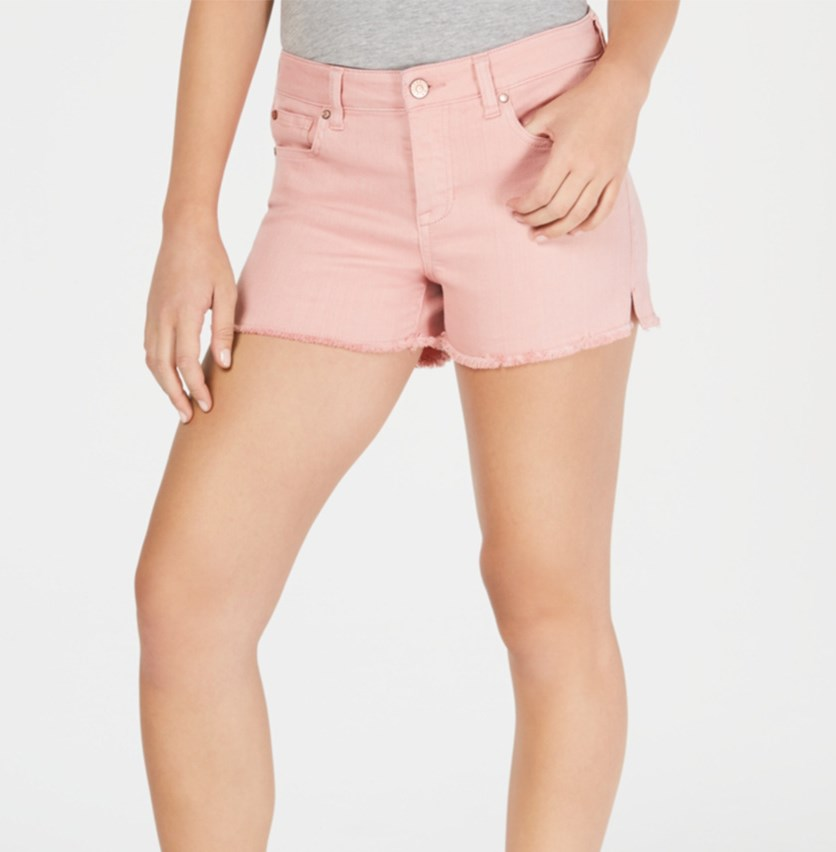 Juniors' Colored Cutoff Denim Shorts, Rose Tan
