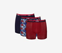 CXL by Christian Lacroix Mens 3-Pack Cotton Stretch Boxer Briefs, Floral Navy/Red Combo