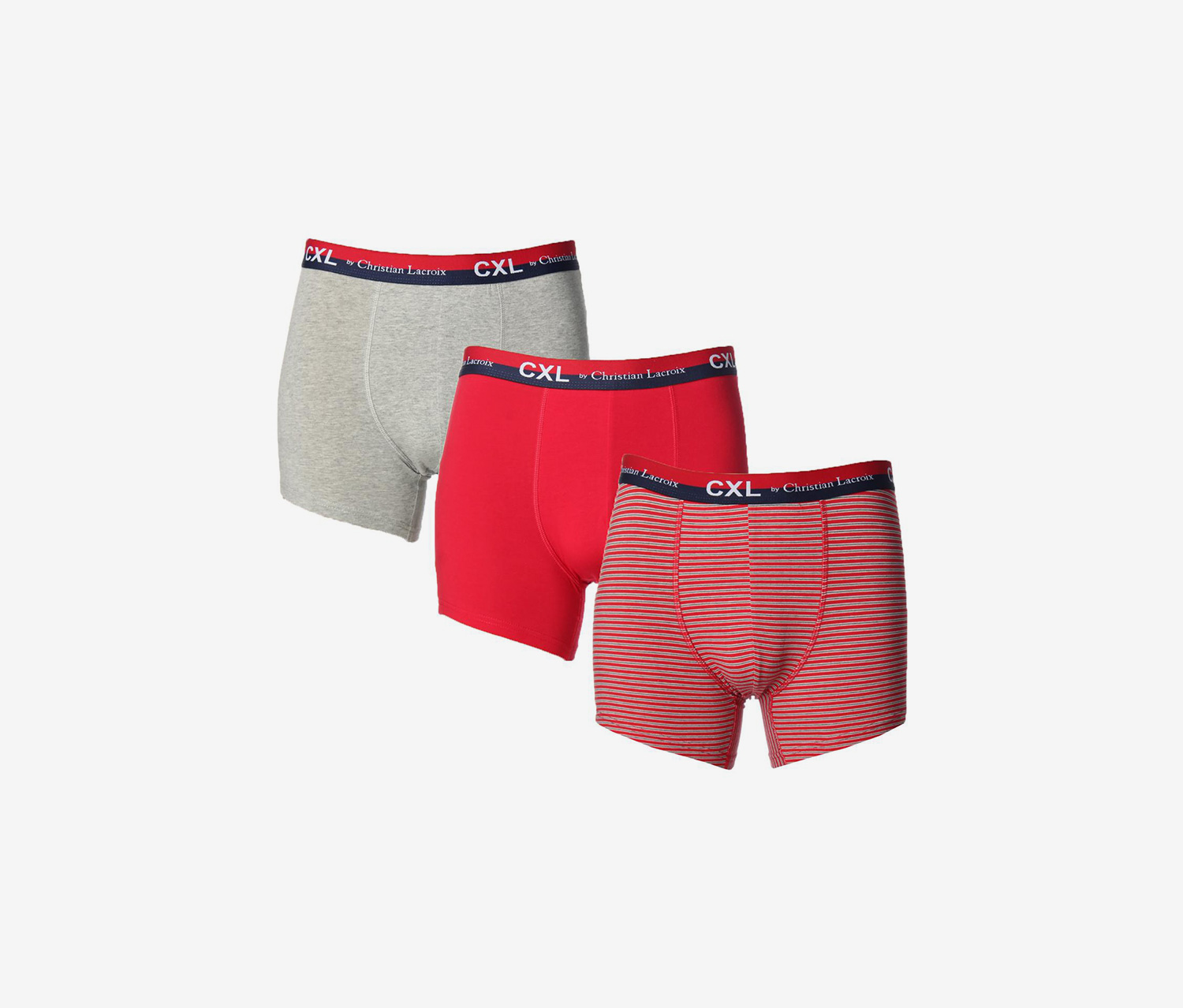 CXL by Christian Lacroix Mens Tagless Underwear Boxer Briefs, Grey/Red Combo