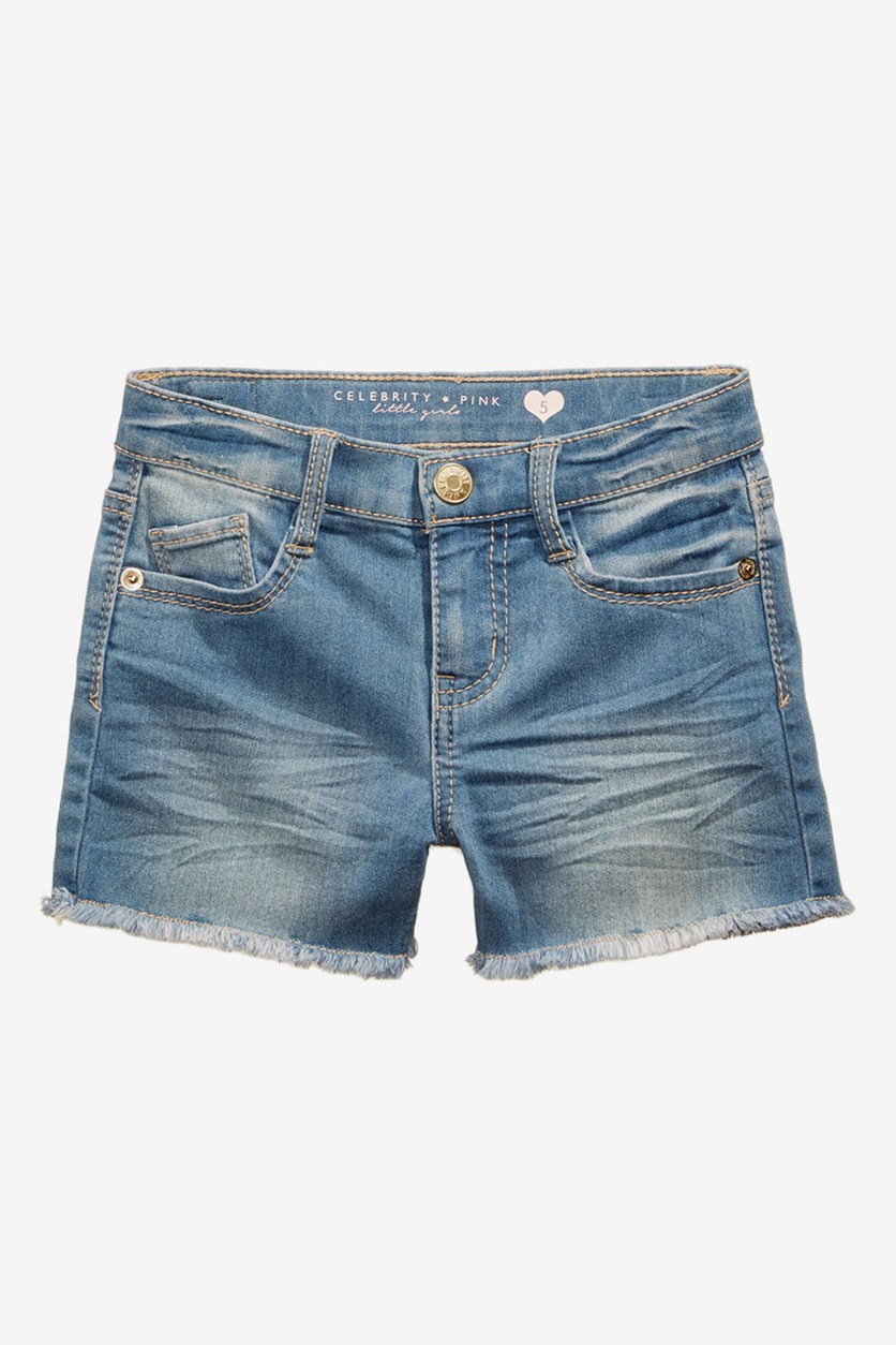Toddlers Girls Super Soft Color Denim Shorts, Ocean Wash