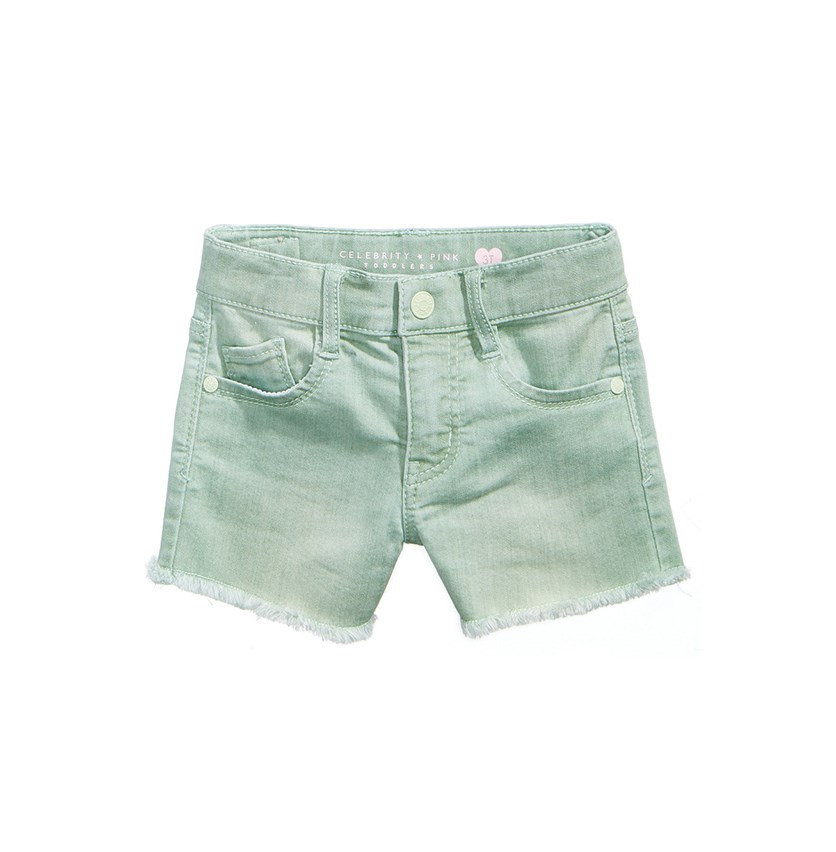 Super Soft Color Denim Shorts, Ice Green