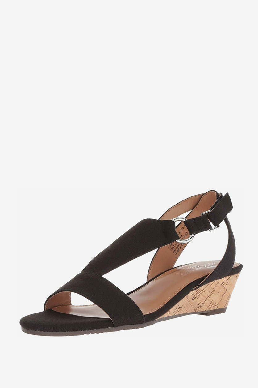 Women's Creme Brulee Wedge Sandal, Black