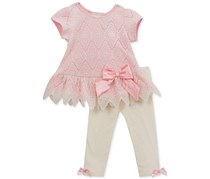 Rare Editions Baby Girl's 2-Pc Lace Tunic & Leggings Set, Pink/White