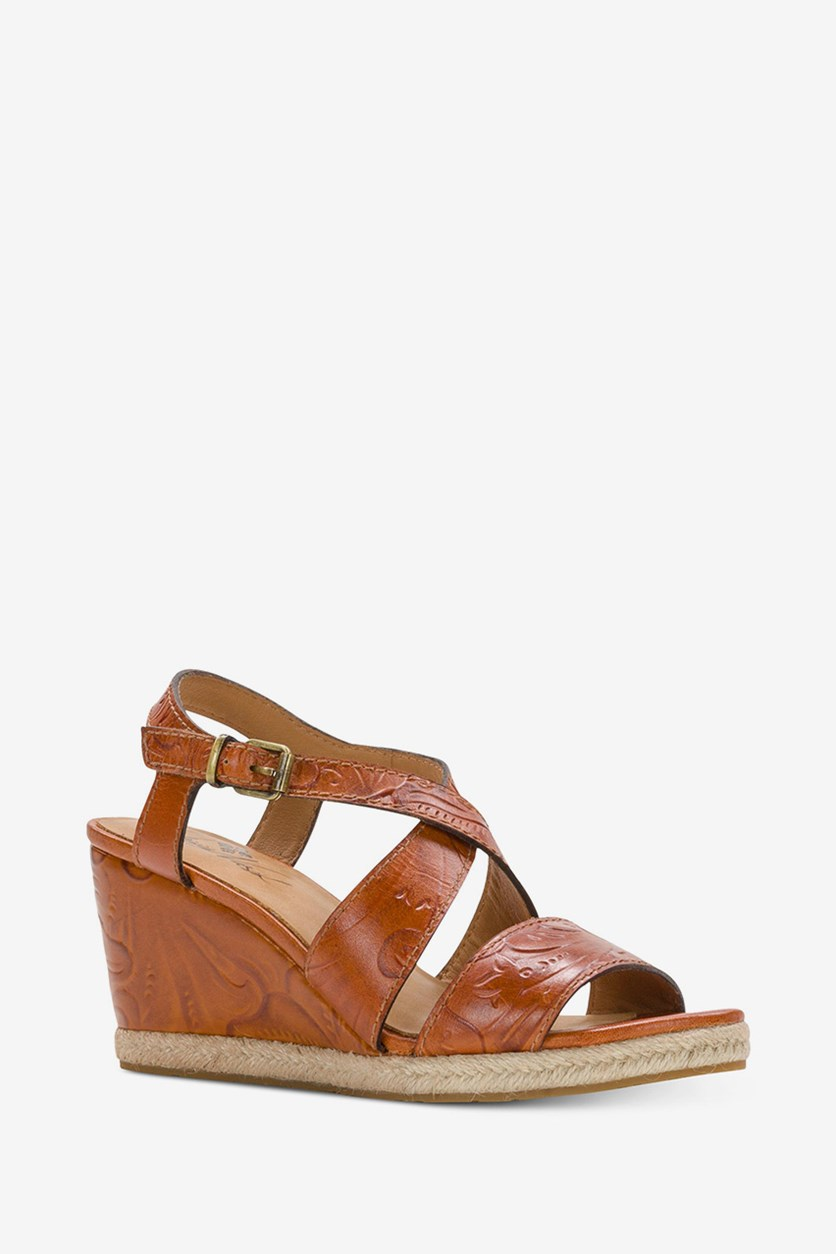 Womens Rafa Leather Open Toe Wedge, Whiskey