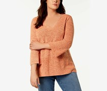 Eileen Fisher Plus Size Organic Cotton Marled Bell-Sleeve Knit Top, Orange Pekoe
