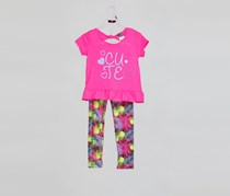 Angel Face Girl's Cute Graphic 2 Piece Set, Pink Combo