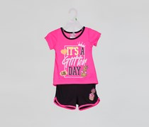 Diva Baby Girl's 2 Piece Set Short Its Glitters Day, Pink