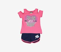 Diva Little Girls 2 Pieces Follow Your Heart Short Set, Pink/Navy