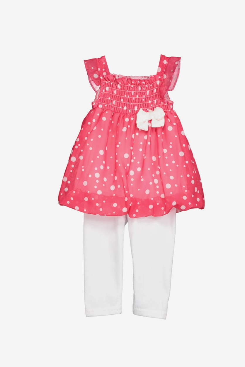 Baby Girls 2 Pieces Polka Dots Legging Set, Pink/White