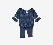 Diva Girls Polka Dots Legging Set, Navy/White