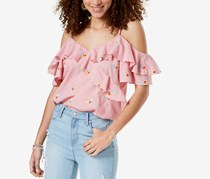 Gypsies & Moondust Juniors Ruffled Gingham Off-The-Shoulder Blouse, Pink/White