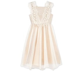Rare Editions Metallic Lace Special Occasion Dress, Ivory