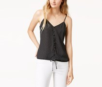 Hippie Rose Juniors Polka Dot Tie-Front Cami Tank Top, Black
