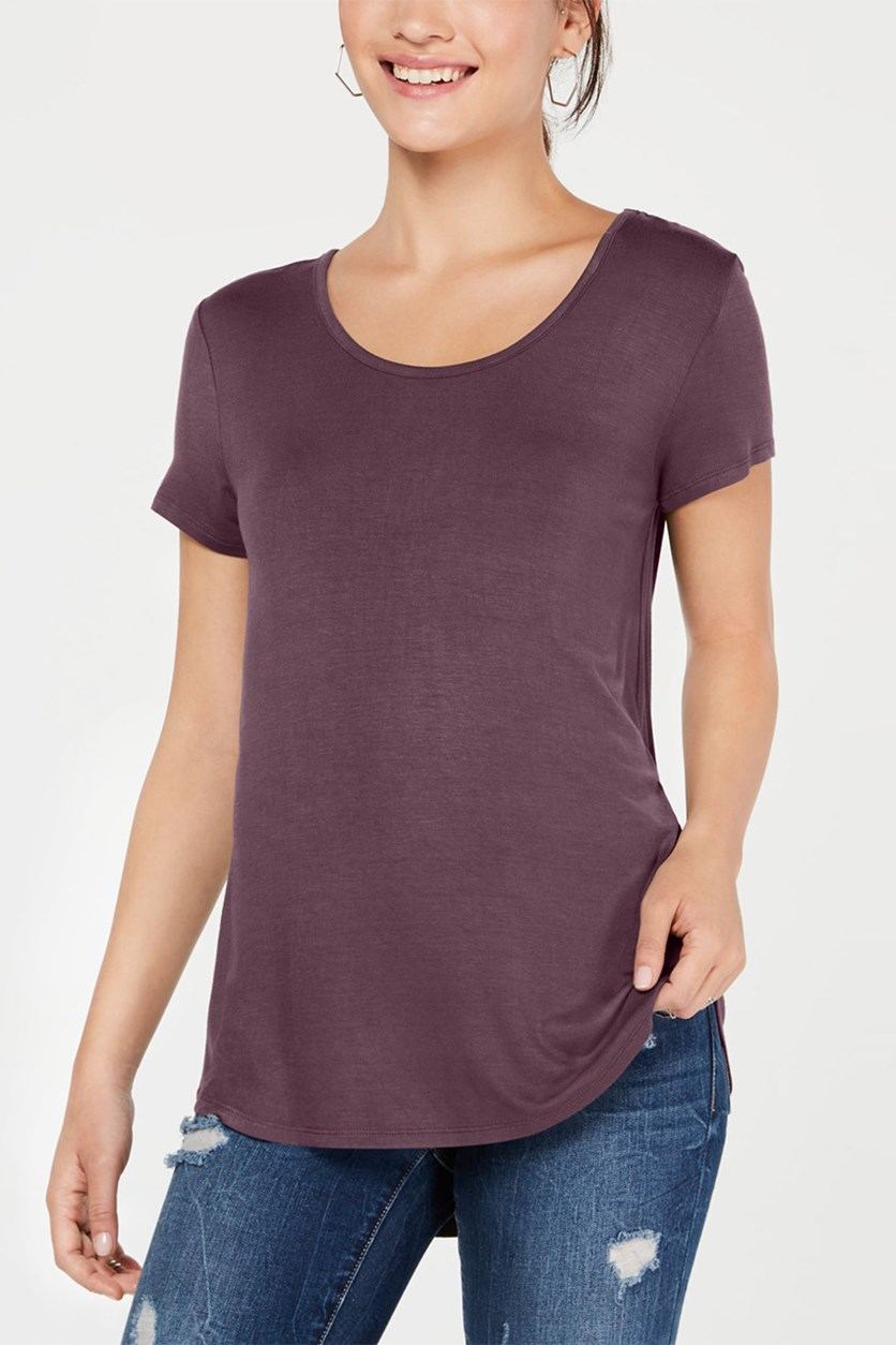 Juniors' Lace-Up V-Back T-Shirt, Pioneer Purple