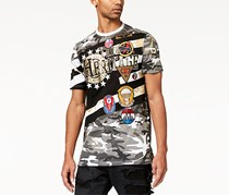 Heritage Men's Pieced Camouflage Embellished T-shirt, Black