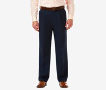 Haggar Men's Cool 18 Pro Classic-Fit Stretch Pleated Dress Pants, Navy