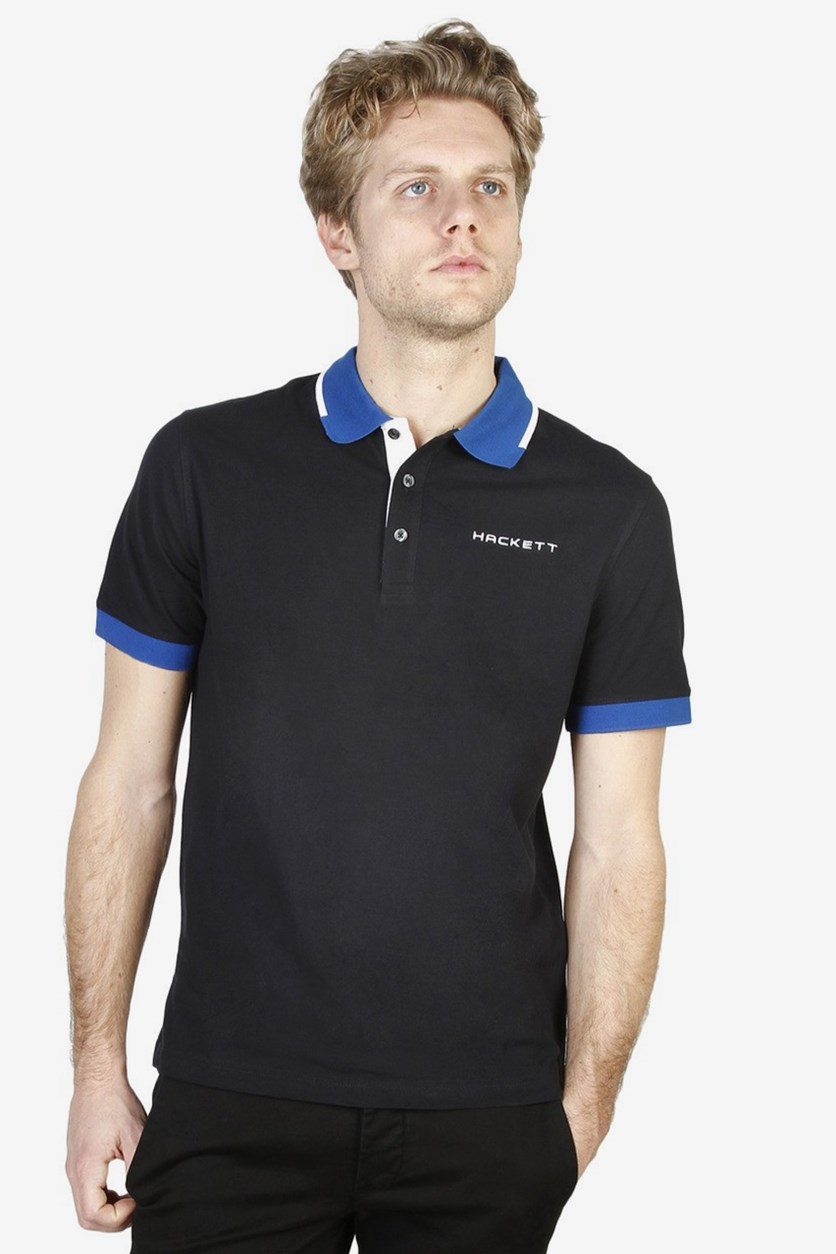 Mens Cotton Polo Shirt Hackett, Black/Snorkel