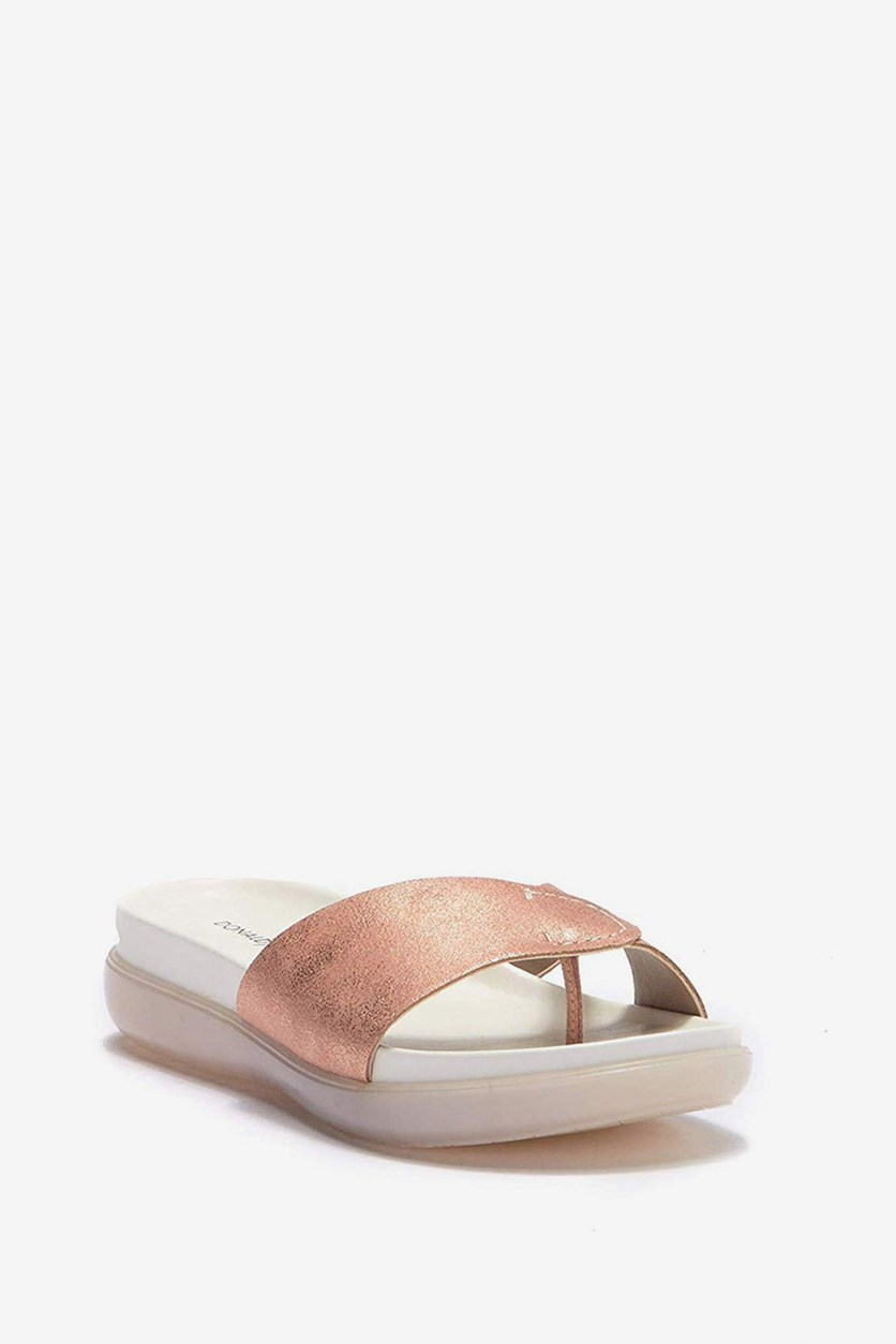 Womens Hollie Open Toe Casual Slide Sandals, Rose Gold Tumb Met Brush Off