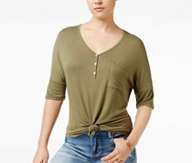 Rebellious One Women's Knotted Henley T-Shirt, Olive