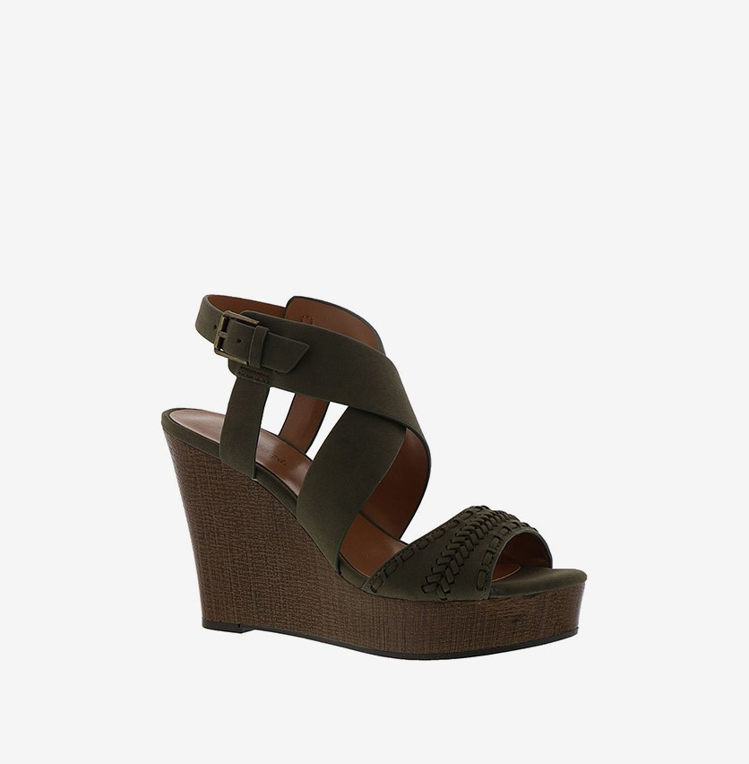 Kash Wedge Sandals, Green