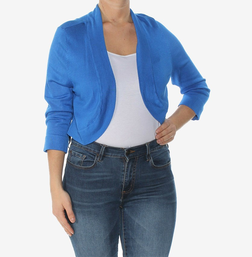 Women's Knit Open Front Cardigan Sweater, Royal Blue