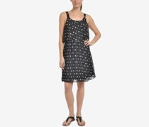 Ny Collection Floral-Print Pleated Popover Dress, Black