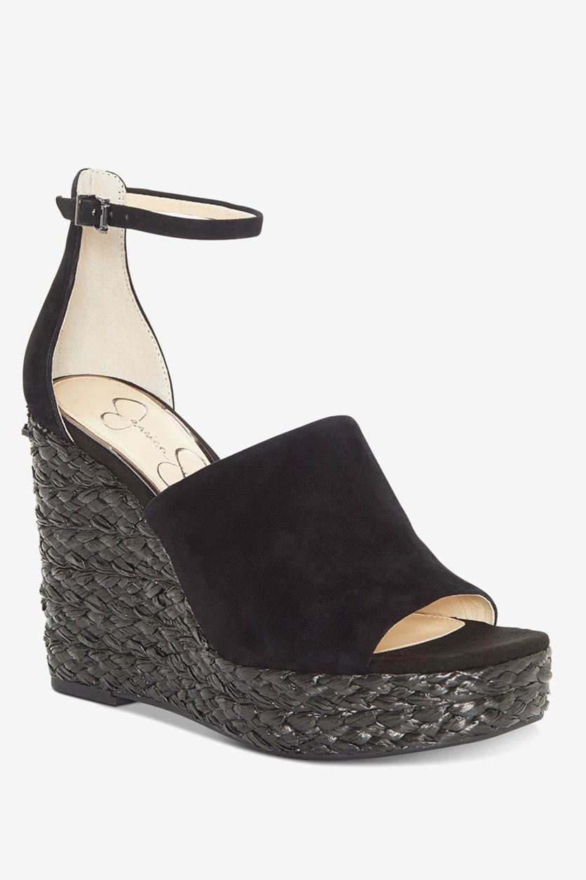 Suella Espadrille Wedge Sandals, Black