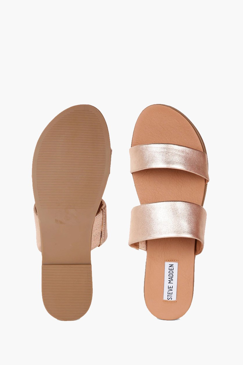 Women's Judy Flat Slide Sandals, Rose Gold