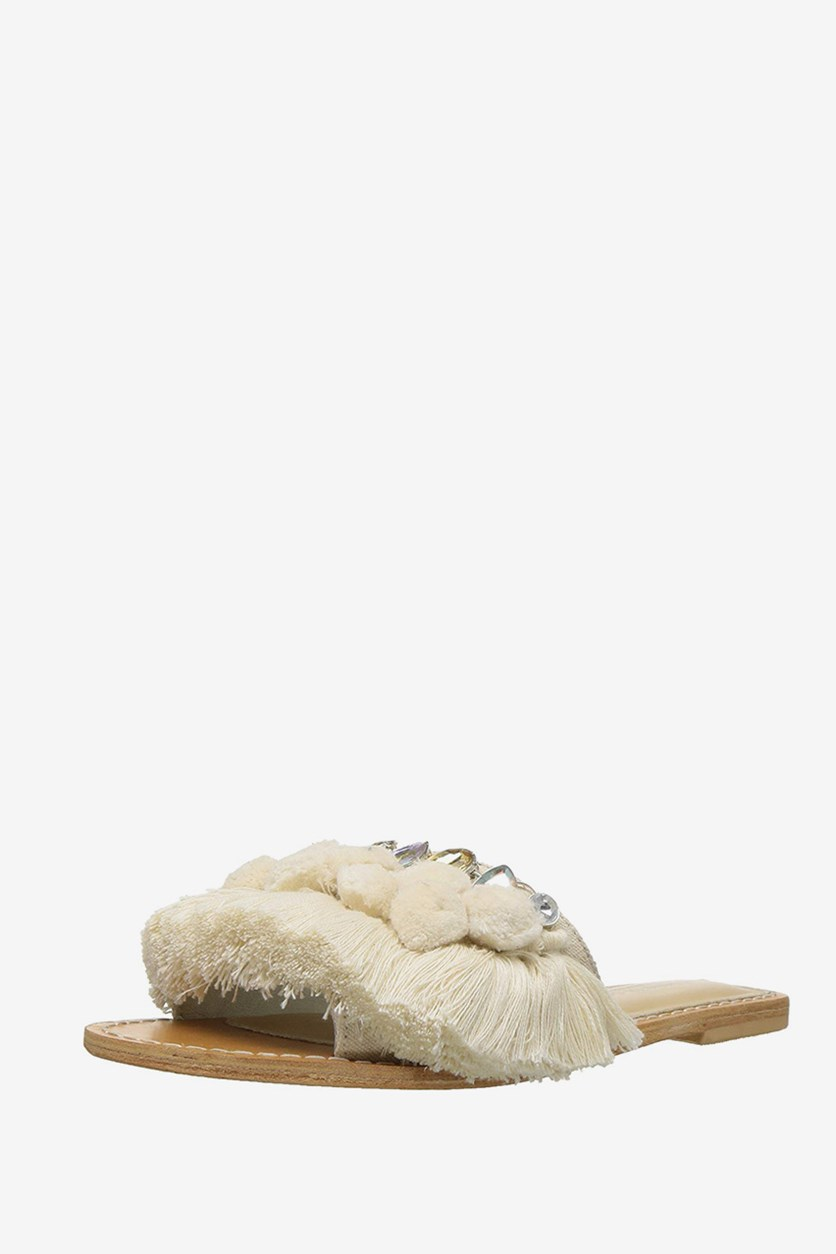 Kenneth Cole New York Womens Osmond Leather Pom Poms Slide Sandals, Cream