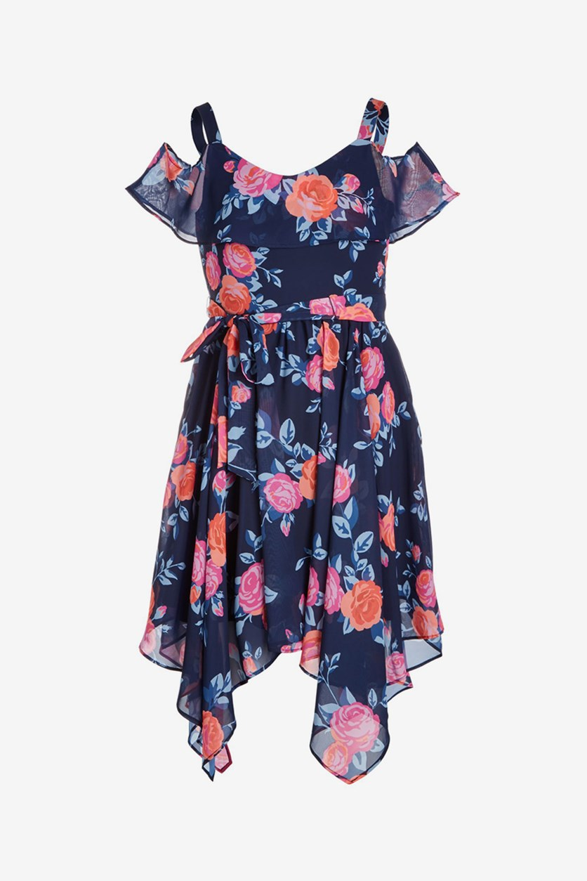 Big Girls Floral-Print Handkerchief-Hem Dress, Navy Combo
