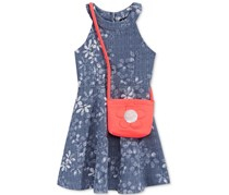 Pink & Violet U-Neck Floral Denim Dress & Purse, Blue