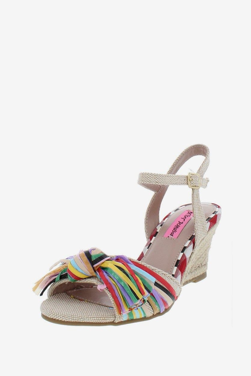 Lizzie Wedge Sandals,  Natural Combo