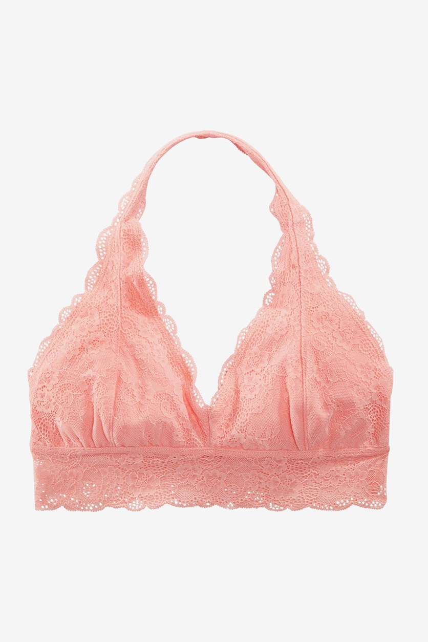 Girls Lace Halter Bra, Coral Blush